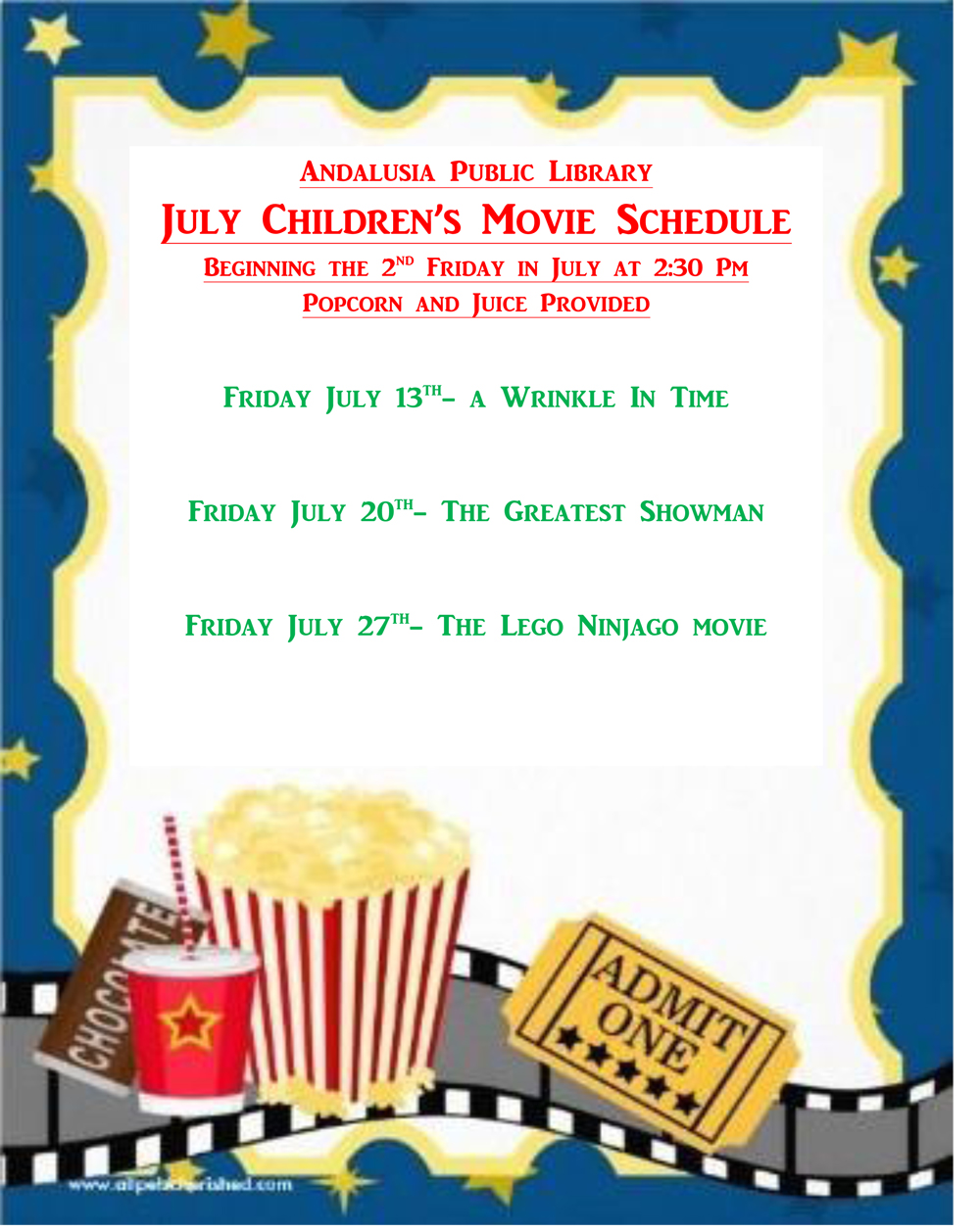 Andalusia Public Library - July Children's Movie Schedule
