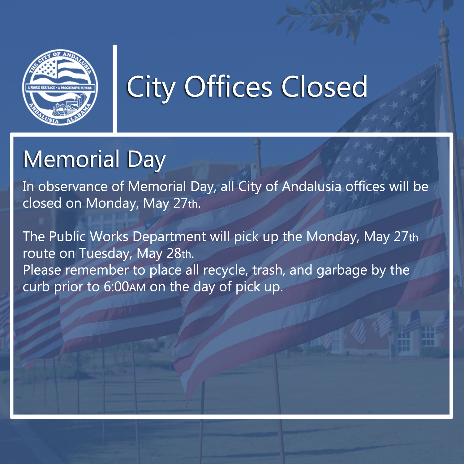 Facebook City Offices Closed Memorial